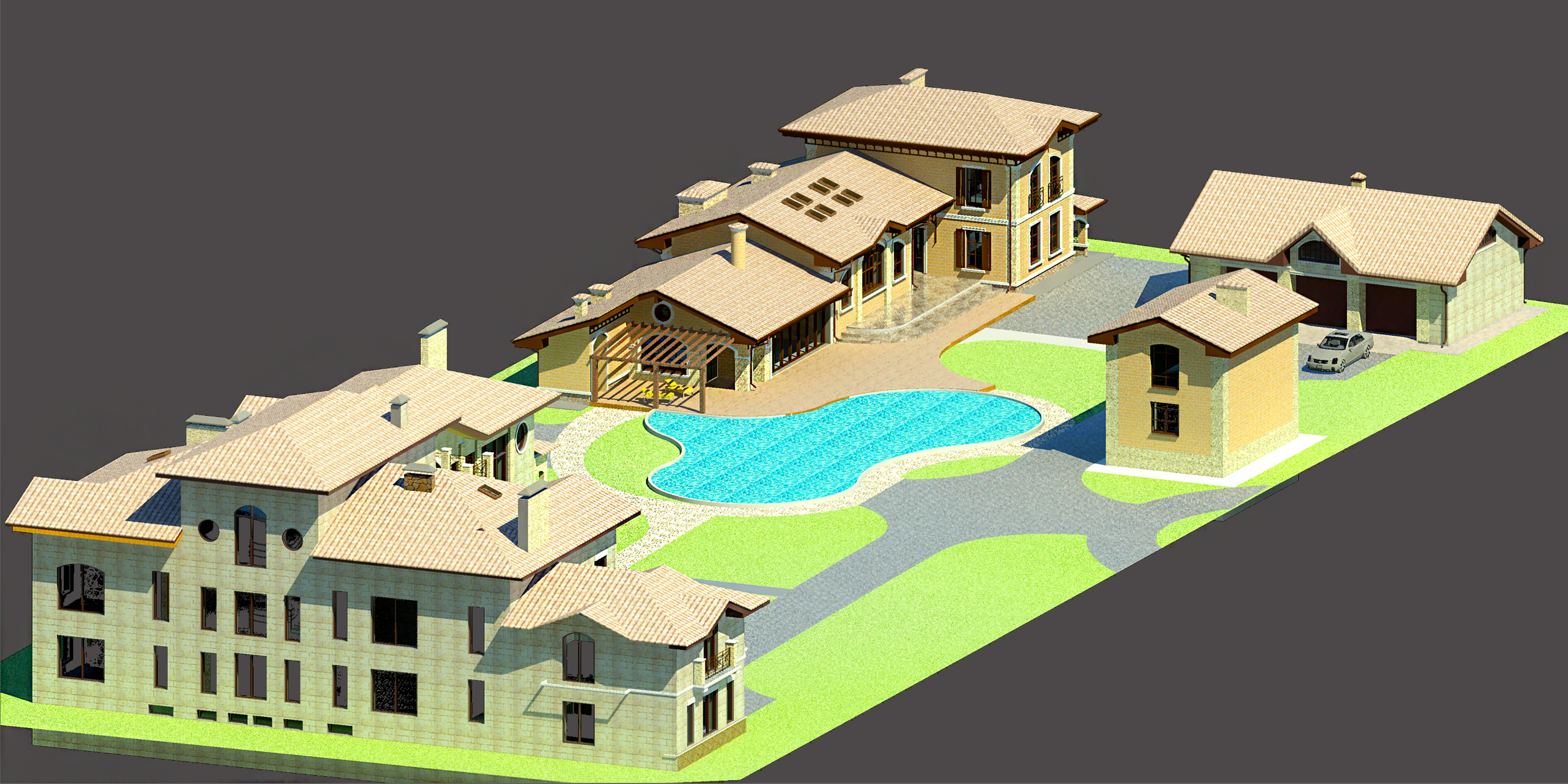 Family Compound 3D rendering